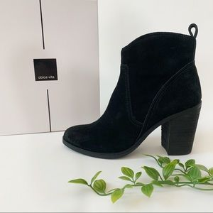 Dolce Vita Black Suede Heeled Boot Leather